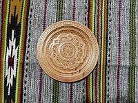 Тарілка різьбленна сувенірна дерев'яна ручної роботи 19 см