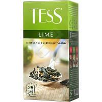 Чай TESS китайский зеленый байховый с цедрой лимона,листочками цыетов и лаймом 25пакетиков