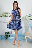 Платье летнее А-силуэта с цветочным принтом и поясом