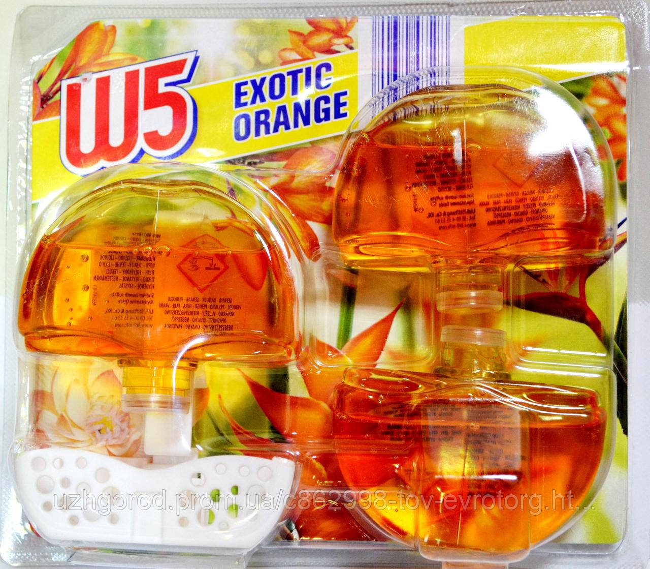 Гелевый блок для унитаза - оранж W5 WC Exotic Orange 3 шт по 55 мл.