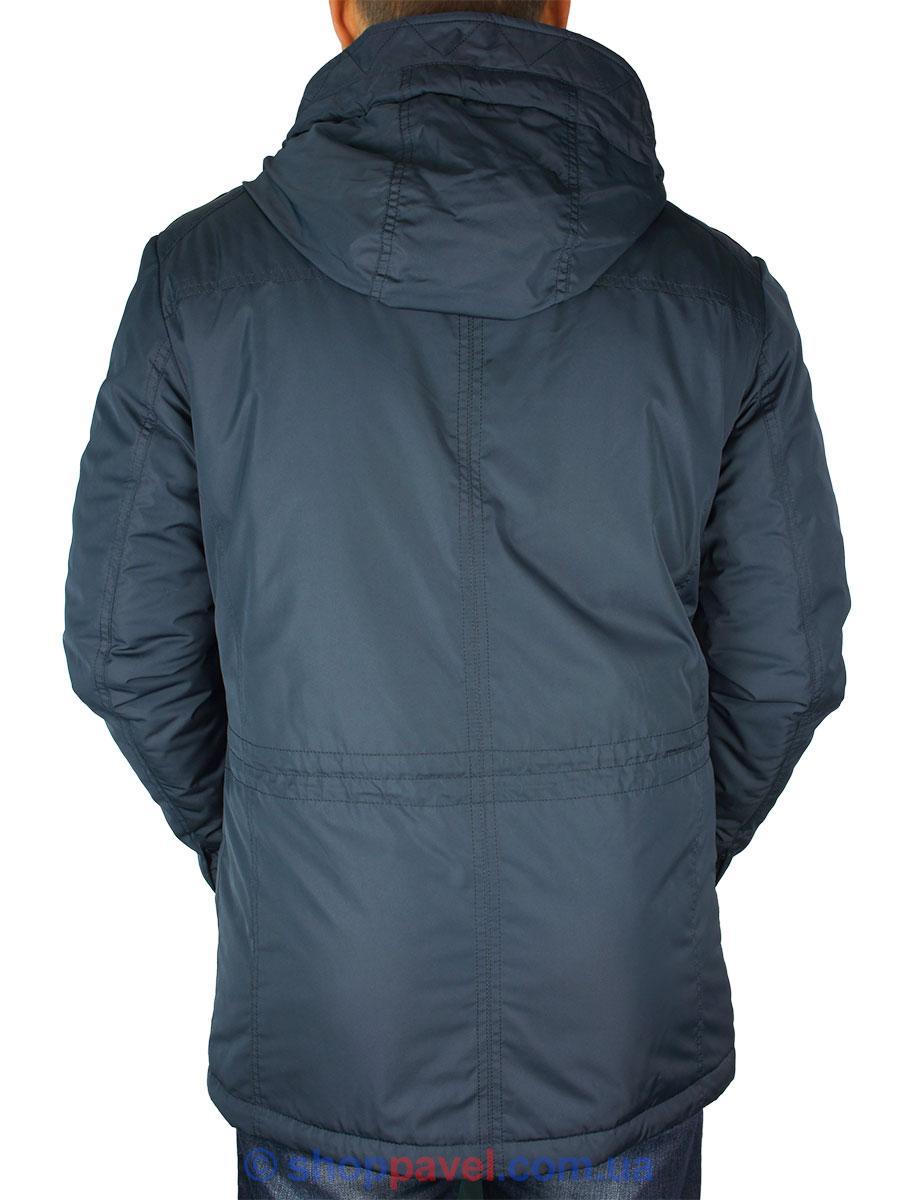 Стильна демісезонна чоловіча куртка Black vinyl TC16-1087 C.2 темно-синього кольору