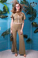 Летние женские брюки-клеш Морган оливковый хаки ТМ Luzana 42-50 размеры