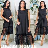 Женское красивое свободное платье-трапеция с кружевом и поясом (5 цветов), фото 1