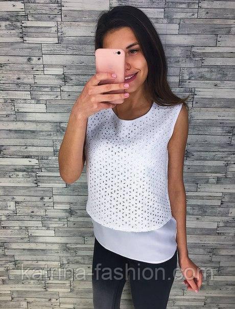 Женская красивая блуза с прошвой