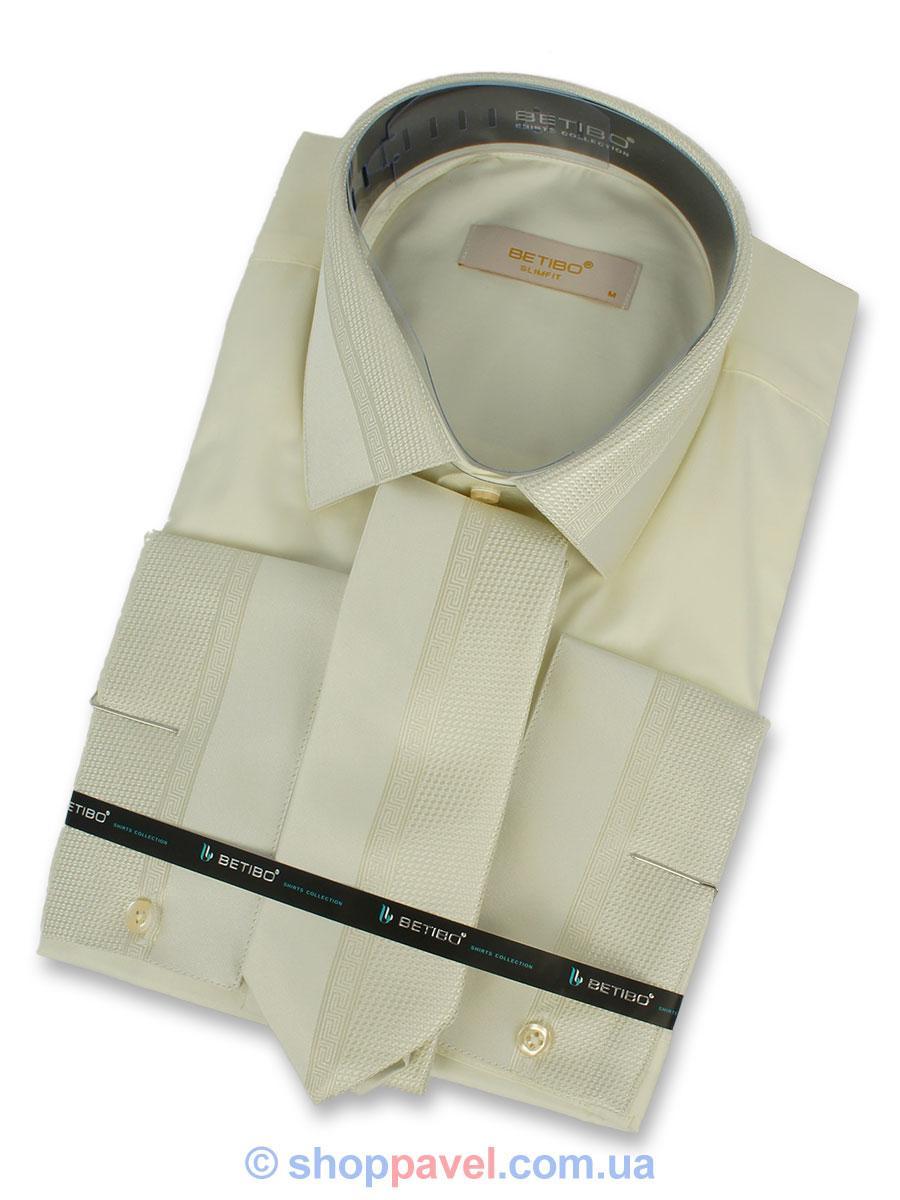 Чоловіча сорочка Negredo 0390 запонка+краватка кремового кольору.