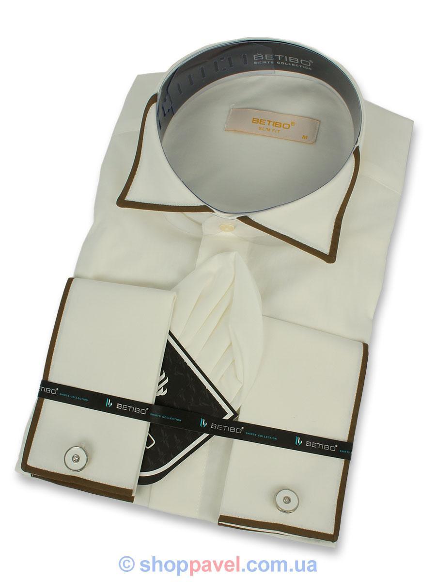 Чоловіча сорочка Negredo 0360 запонка + метелик кремового кольору