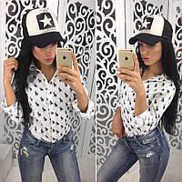 Женская стильная рубашка с принтом