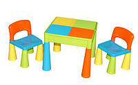 Детский стол, лего доска lego, два стула в комплекте Tega