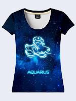 """Женская футболка со Знаком Зодиака """"Водолей"""". Размеры от XS(42) по XL(50)."""