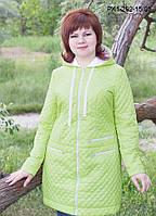 Женское демисезонное полупальто цвет салатовый размер 48-54