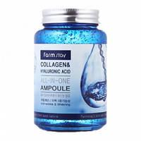 Сыворотка с коллагеном и гиалуроновой кислотой Farm Stay Collagen & Hyaluronic Ampoulе (поврежденная упаковка)