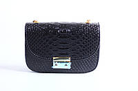 Черная женская сумка под кожу питона ,кроссбоди,уценка