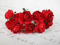 Декоративные бумажные цветочки, розы 12 шт. 2 см на ножке красного цвета, фото 1