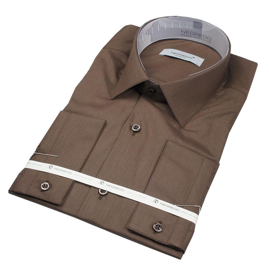 Чоловіча сорочка Negredo 25020 Slim коричневого кольору
