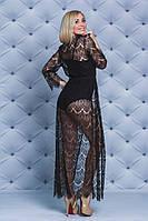 Женская кружевная пляжная туника черная, фото 1