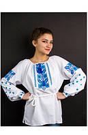 """Блуза с вышивкой на домотканом полотне """"Голубые незабудки"""""""