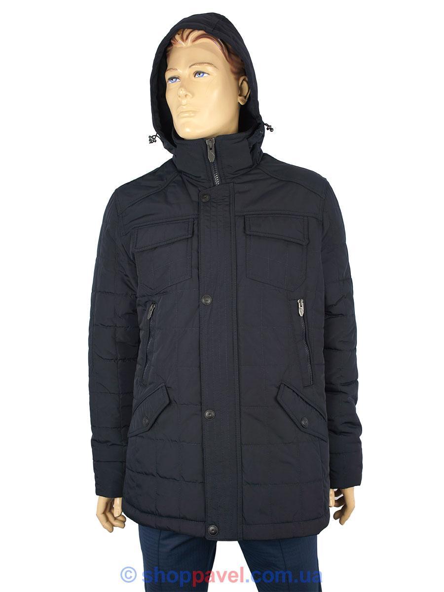 Зимова подовжена чоловіча куртка Santoryo WK 7537 темно-синього кольору