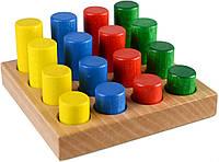 Деревянная игрушка Цветные цилиндры в коробке, ТМ Тато