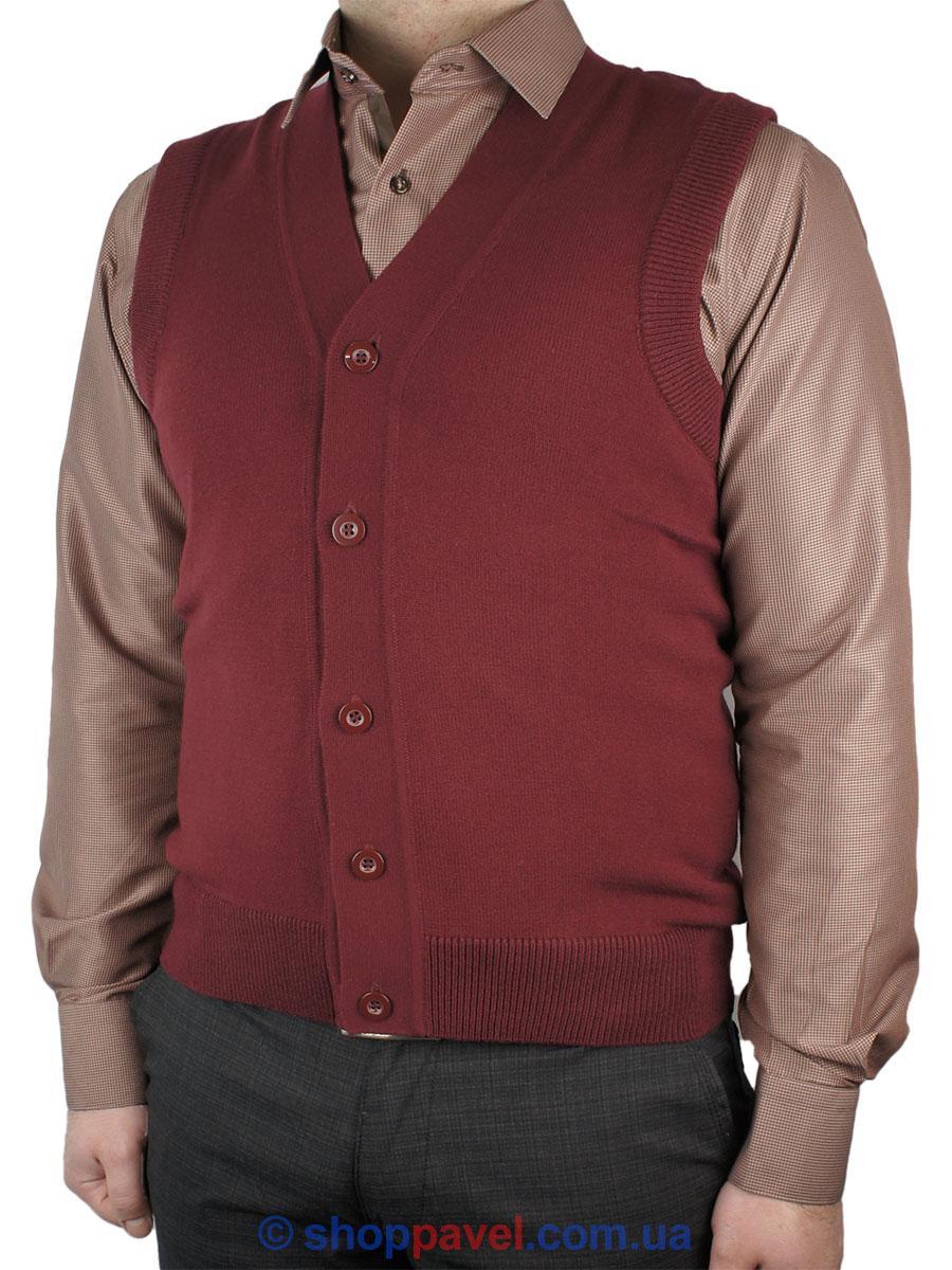 Трикотажний чоловічий жилет Ferraro 7818-Y на гудзиках бордового кольору