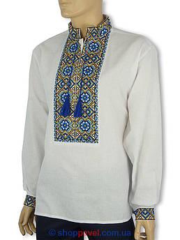 Чоловіча вишиванка класична з довгим рукавом Flax 007+005-ч В осінні барви