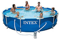 Каркасный сборно-разборный бассейн Intex 28212 Metal Frame Pool (366-76 см.) + Фильтрующий насос