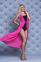 Женское пляжное платье-туника розовое