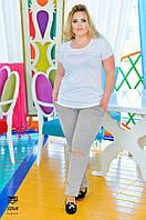 Женские Спортивный костюм с футболкой штаны Серые с порезами БАТАЛ