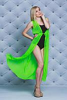 Женское пляжное платье-туника салат