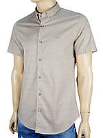 Чоловіча сорочка Desibel 5058 H #4. в бежевому кольорі с принтом