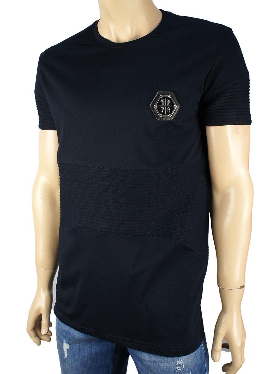 Чоловіча футболка 10007-U темно-синього кольору