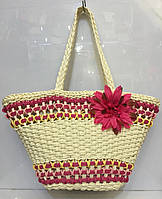 Женская летняя соломенная сумочка с цветком в разных цветах