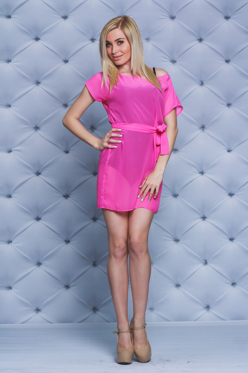 Женская пляжная туника  розовая