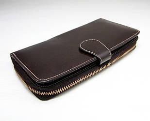 Кожаный кошелек на молнии с картхолдером Silver Rose коричневый