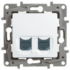 Розетка інформаційна / комп'ютерна подвійна RJ45 кат. 5 UTP, білий, Legrand Etika Легранд Етика