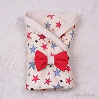 Конверт для новорожденных бежевый в звездах с красным бантом, Valleri