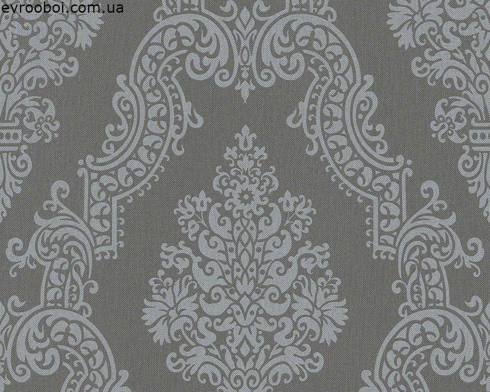 Темно серые обои под ткань 936772 цвета графит, с большим узором в стиле барокко - орнамент, гобелен, вензеля