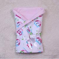 Конверт-одеяло на выписку для новорожденных розовый, Совенок