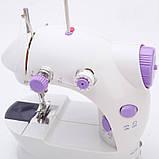 Міні швейна машинка FHSM-202 з педалькой з адаптером 220в, фото 3