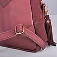 Кожаный женский рюкзак Copper с кисточками Винный/Замша, фото 6