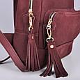 Кожаный женский рюкзак Copper с кисточками Винный/Замша, фото 5