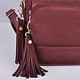 Кожаный женский рюкзак Copper с кисточками Винный/Замша, фото 8