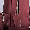Кожаный женский рюкзак Copper с кисточками Винный/Замша, фото 10