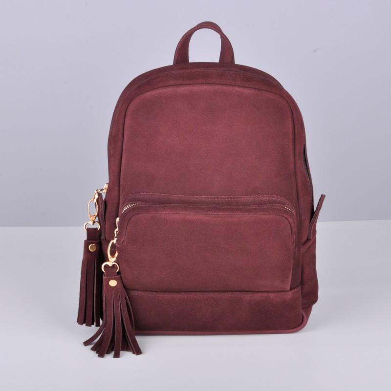 Кожаный женский рюкзак Copper с кисточками Винный/Замша