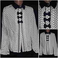 "Школьная блузка ""3 Бантика"" на креп-шифоне, рост 116-146 см., 185"