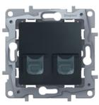 Розетка информационная / компьютерная двойная RJ45 кат. 5 UTP, антрацит, Legrand Etika Легранд Этика