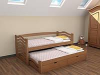 Кровать Мальва из массива бука с дополнительным выдвижным спальным местом