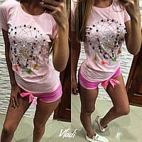 Женская красивая футболка розового цвета