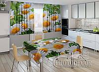 """Фото комплект для кухни """"Белые ромашки"""" (шторы 1,5м*2,5м; скатерть 1,0м*1,2м)"""