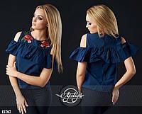 Женская модная блузка розы  с  вышивкой  ОИ222