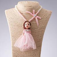 Бусы брелок детские  на резинке L-36см Кукла розовое платье L-11см